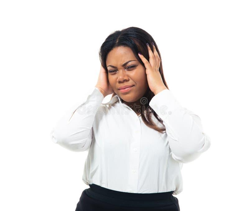 有非洲的女实业家头疼 库存照片