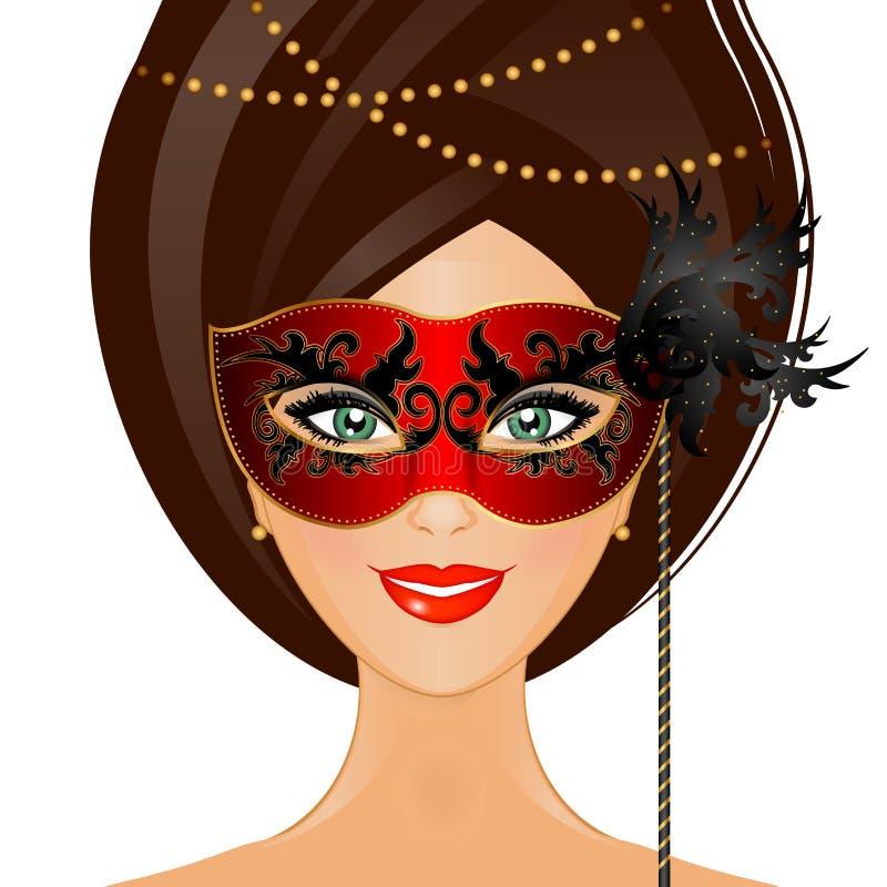 有面具的妇女 向量例证