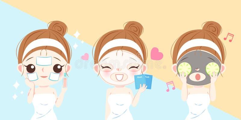 有面具的护肤妇女 向量例证