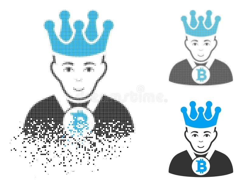 有面孔的被分解的被加点的半音Bitcoin国王Icon 库存例证