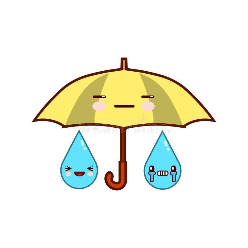 有面孔的逗人喜爱的动画片伞 降雨量 Emoji在白色背景平的设计传染媒介例证隔绝了 向量例证