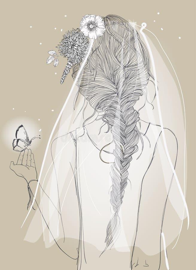 有面纱和辫子的逗人喜爱的新娘 向量例证