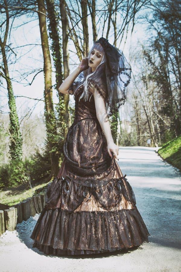 有面纱的哥特式新娘 库存照片