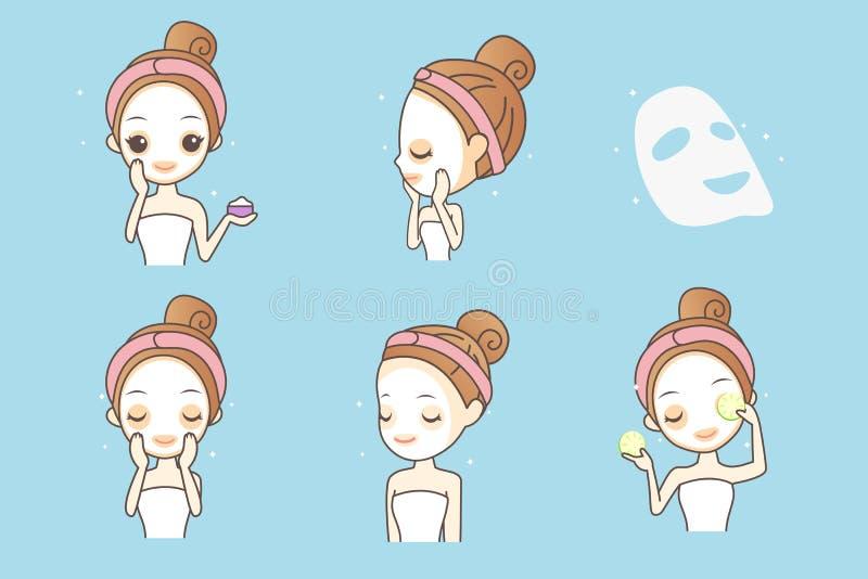 有面部面具的动画片女孩 向量例证