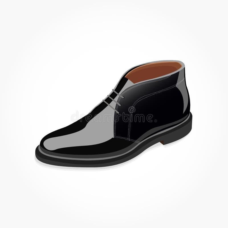 有鞋带和屏蔽效应的黑人鞋子 皇族释放例证