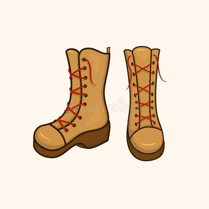 有鞋带的高秋天鞋子 库存例证
