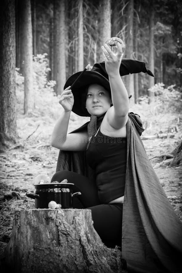 有鞭子和玻璃球的巫婆 免版税库存照片