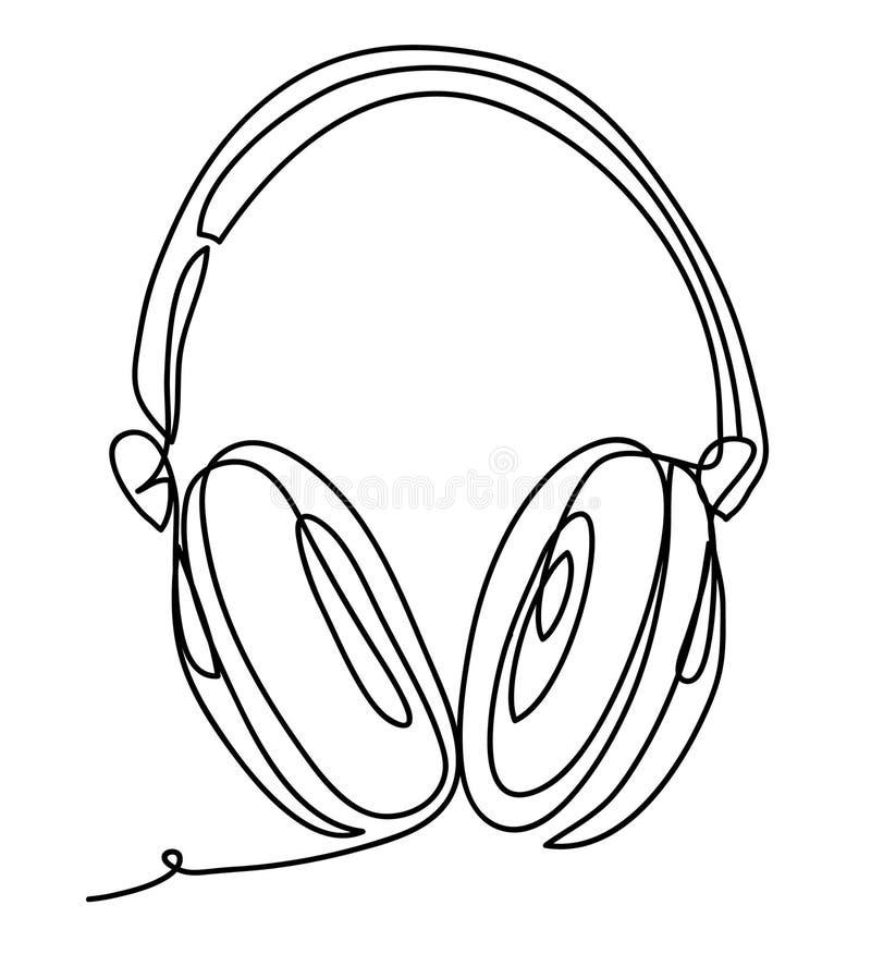 有音乐和技术标志的无线耳机导航在白色背景隔绝的例证 实线 库存例证
