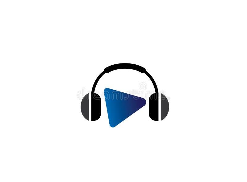 有音乐敲打的耳机,有戏剧标志的耳机商标设计的 向量例证