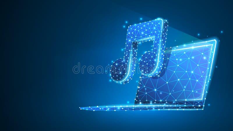 有音乐笔记标志的膝上型计算机在屏幕上 多角形互联网声音,计算机球员概念 摘要,数字,多wireframe的低落 向量例证