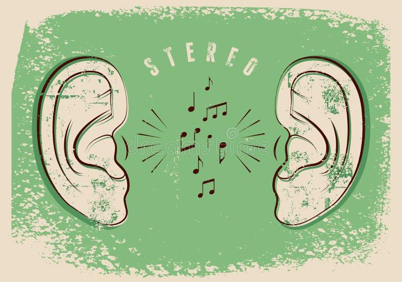 有音乐笔记的耳朵 立体声音乐印刷葡萄酒难看的东西样式海报 例证减速火箭的向量 向量例证
