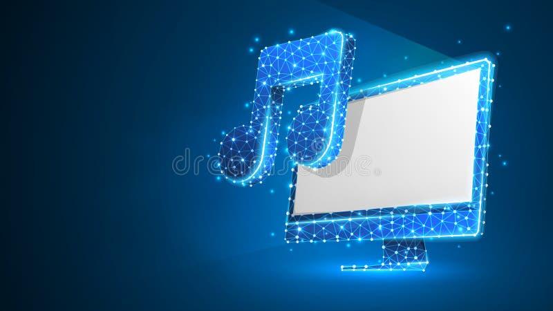 有音乐笔记的计算机关于白色显示器屏幕 多角形合理的投射,计算机曲调概念 摘要,数字, 皇族释放例证