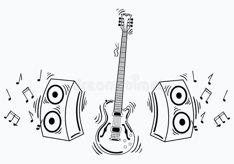 有音响系统的传染媒介电吉他 皇族释放例证