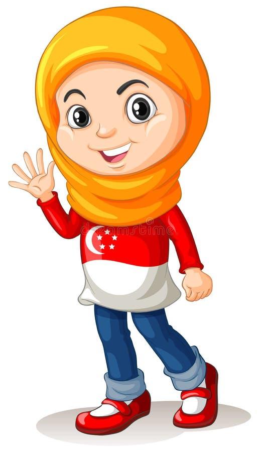 Download 有顶头布料挥动的新加坡女孩 向量例证. 插画 包括有 学员, 背包, 对象, 外国人, 愉快, 艺术, 国家 - 59108170