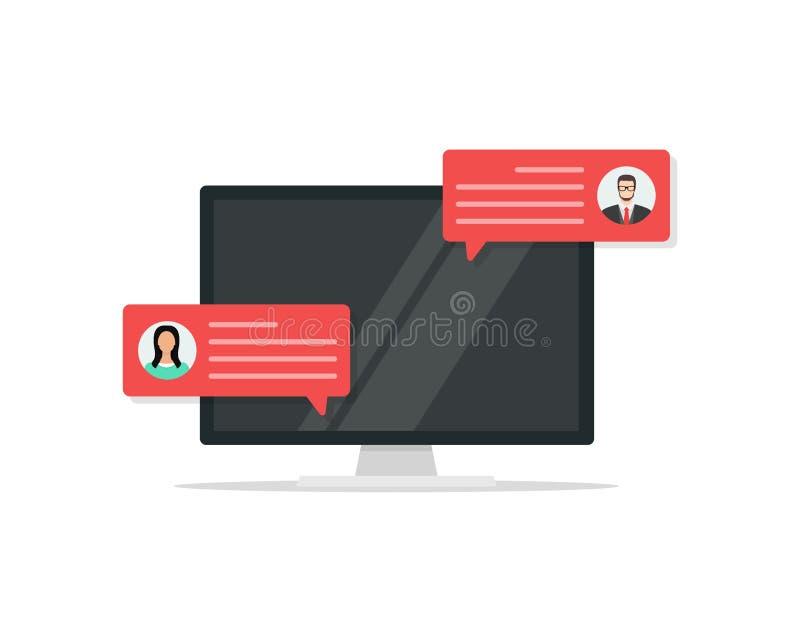 有顾客回顾规定值消息的计算机、台式计算机显示平的动画片设计和网上回顾或者客户 库存例证