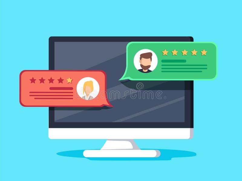 有顾客回顾规定值消息的计算机导航例证、台式计算机显示平的动画片设计和回顾 库存例证