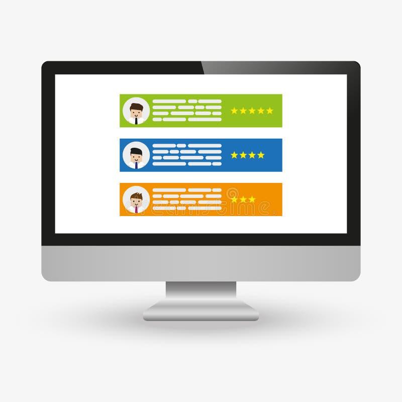 有顾客回顾规定值消息的计算机导航例证、台式计算机显示平的动画片设计和网上回顾或者 库存例证