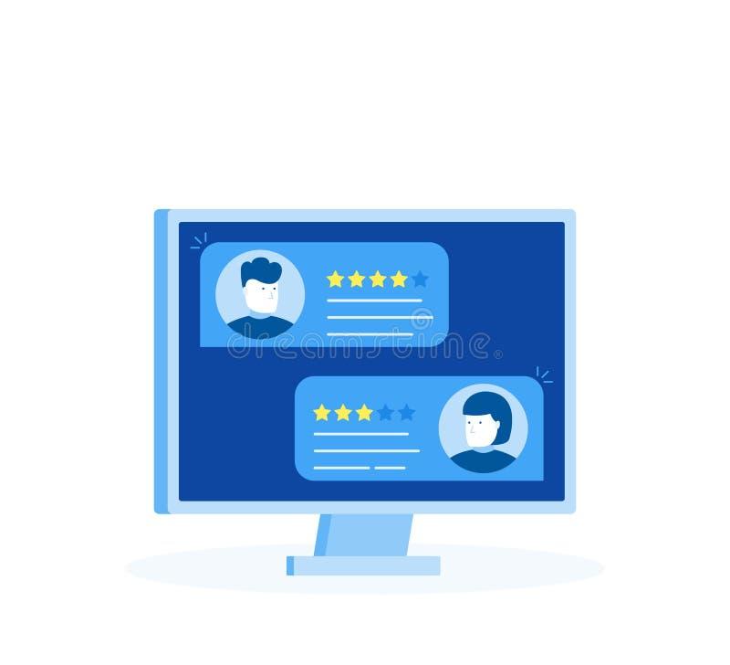 有顾客回顾规定值消息的计算机 库存例证