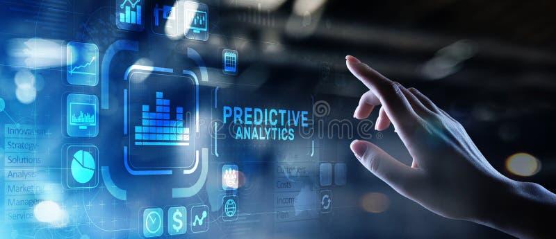 有预测性的逻辑分析方法大数据分析商业情报互联网和现代技术概念在虚屏上 免版税图库摄影