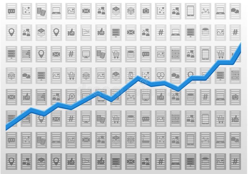 有预测性的逻辑分析方法或商业情报的抽象信息技术分析例证 向量例证