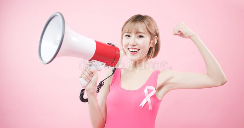 有预防乳腺癌的妇女 库存照片