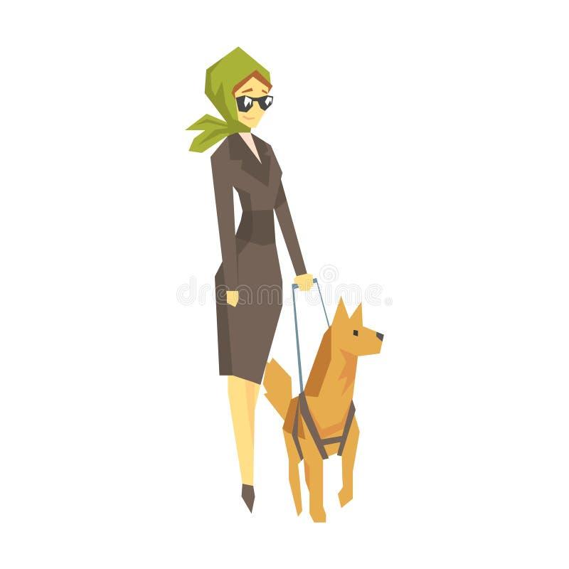 有领路狗的时髦的瞎的妇女,有克服伤害的伤残的充分居住年轻的人活传染媒介 库存例证