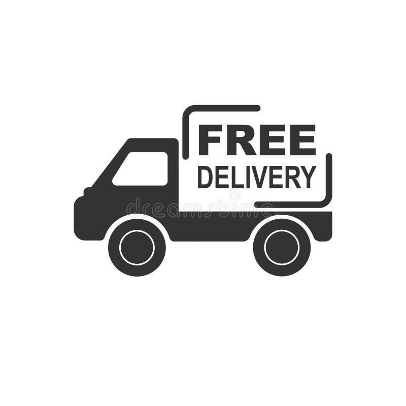 有题字免费送货的卡车,简单设计 库存例证