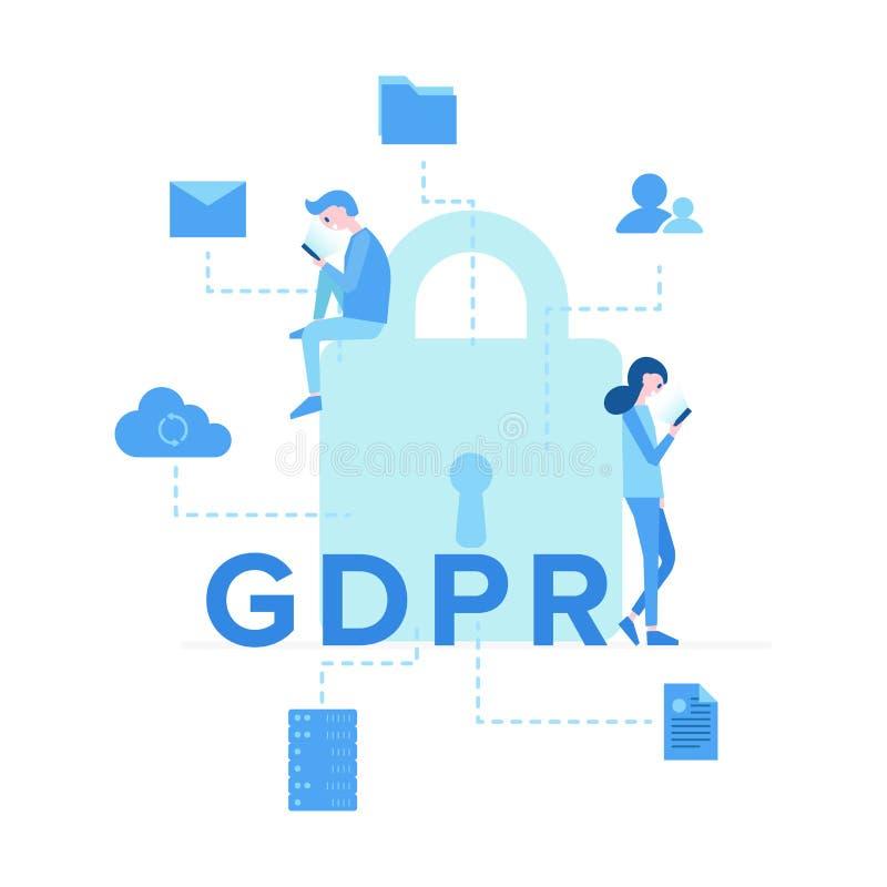 有题字的GDPR大锁 库存例证