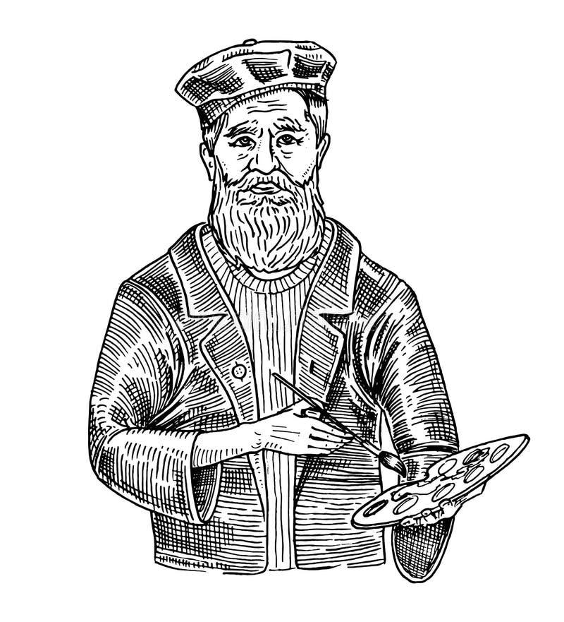 有颜料调色的老蓄胡子画家 艺术工作者 复古风格 雕刻手绘草绘 向量例证