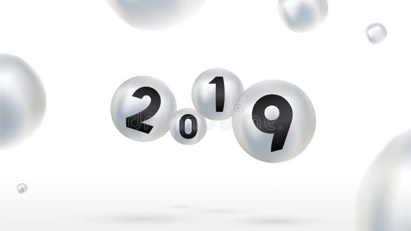 有颜色圣诞节球的2019新年快乐或抽象球或者泡影 3d标志拷贝空间 欢乐海报或横幅设计 皇族释放例证
