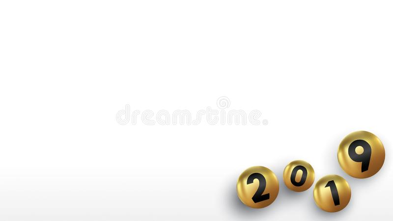 有颜色圣诞节球的2019新年快乐或抽象球或者泡影 3d标志拷贝空间 欢乐海报或横幅设计 向量例证