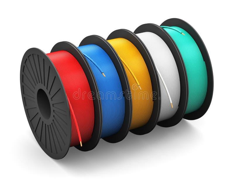 有颜色电力缆绳的短管轴 向量例证