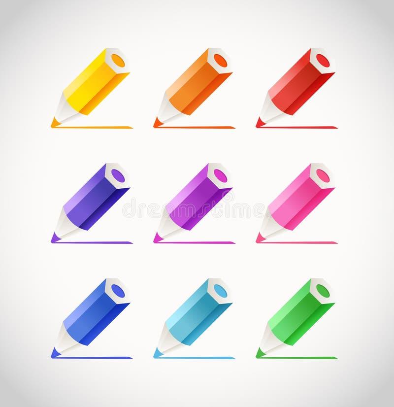 有颜色踪影的蜡笔 库存例证