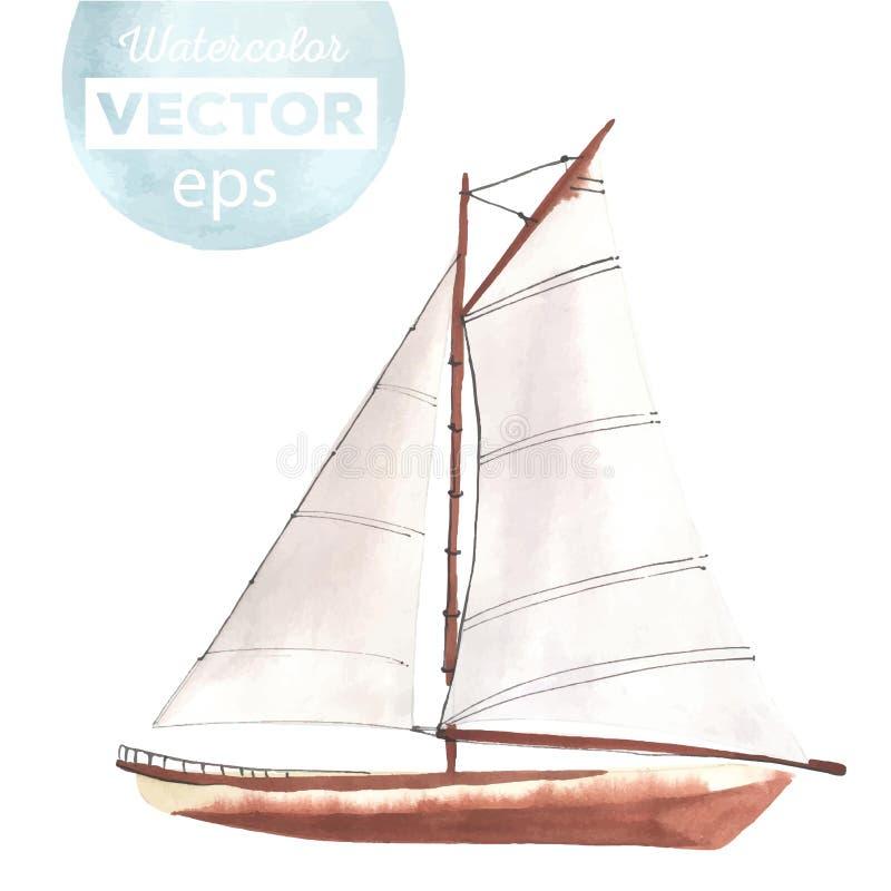 有风帆的水彩小船 向量例证