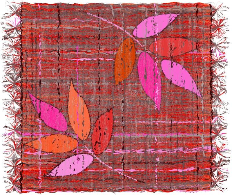 有风格化叶子和边缘补花的五颜六色的被编织的地毯  库存例证