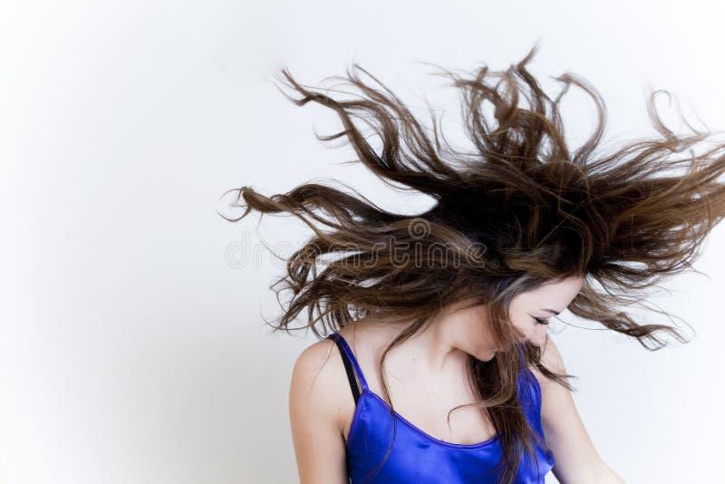 有风的头发 免版税图库摄影