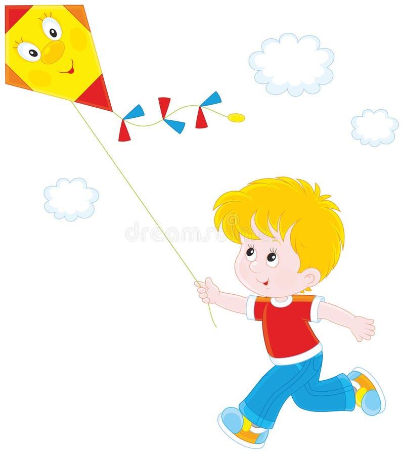 有风筝的小男孩 皇族释放例证