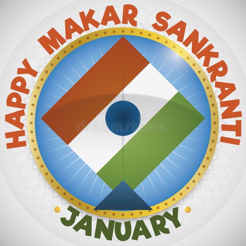 有风筝的按钮象Makar Sankranti节日的,传染媒介例证印度旗子 向量例证
