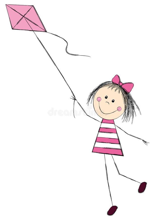 有风筝的逗人喜爱的小女孩 皇族释放例证