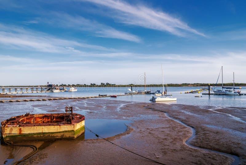有风船的码头 库存照片