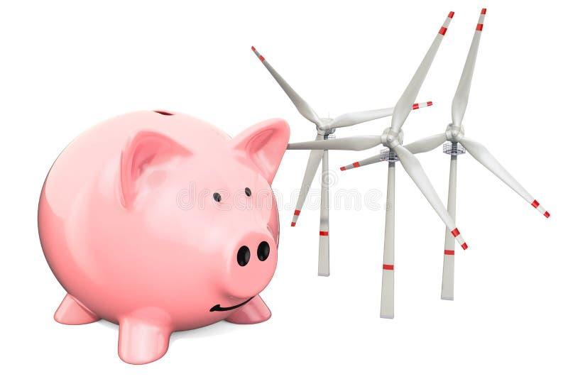 有风轮机的存钱罐 保存的能源消耗概念,3D翻译 向量例证