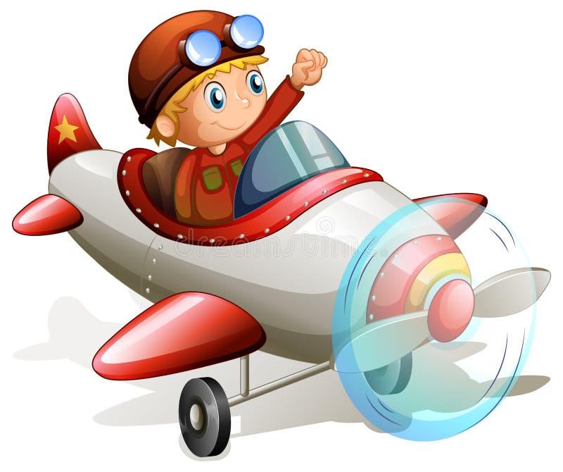 有飞行员的葡萄酒飞机 库存例证