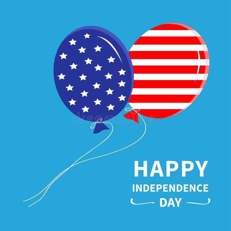 有飞行在天空的星和小条的气球 愉快的独立日美利坚合众国 7月4日 平的设计 库存例证