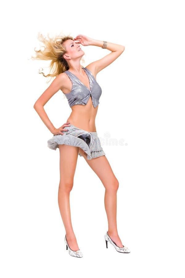 有飞行头发的肉欲的妇女 图库摄影