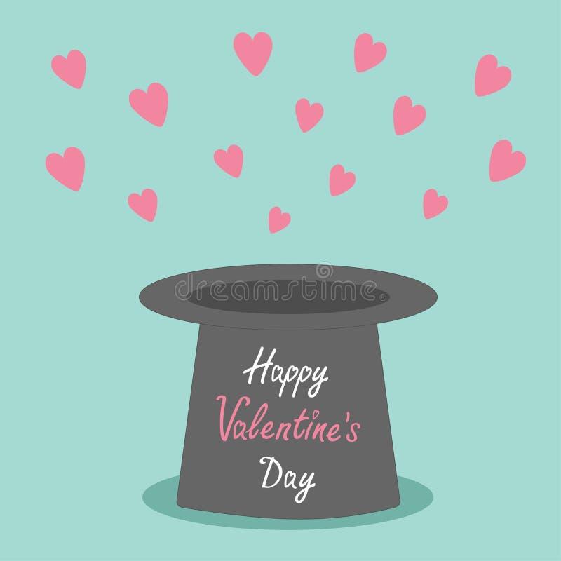 有飞行的桃红色心脏不可思议的黑帽会议在蓝色背景 平的设计样式愉快的情人节卡片 皇族释放例证