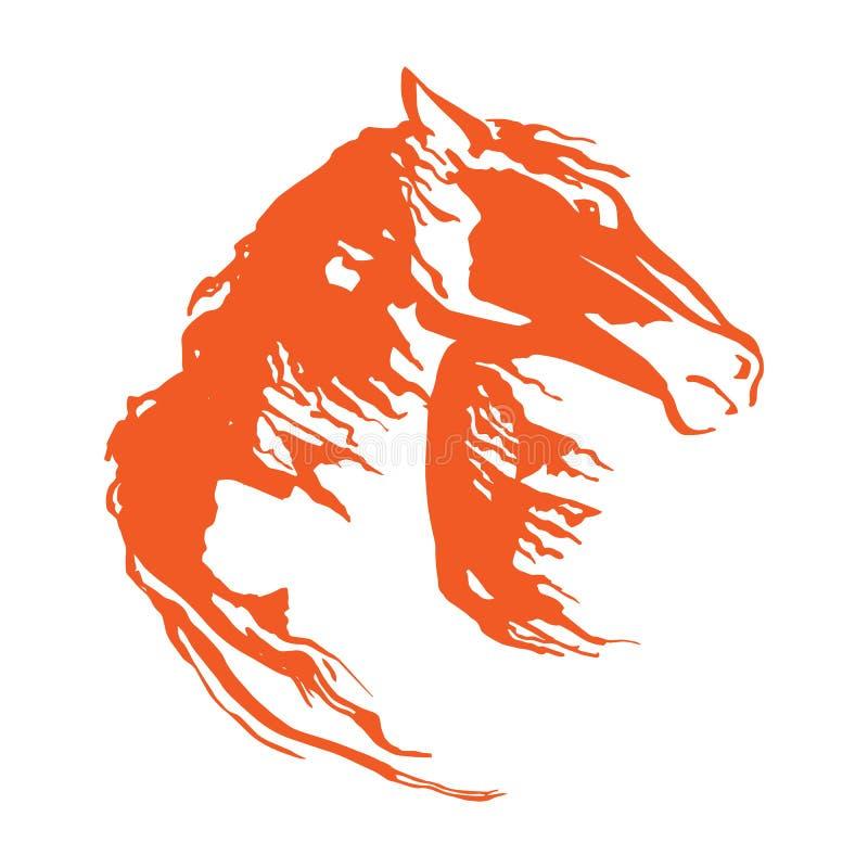 有飞行鬃毛的马头 传染媒介手drowing的例证 在白色背景的被隔绝的野马图象 向量例证