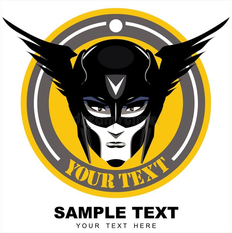 有飞过的面具的妇女超级英雄在黄色和灰色圈子 库存例证