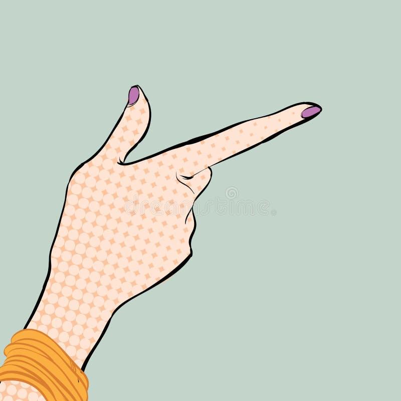 有食指的一只女孩` s手 指向手指的妇女 解释某事的妇女 忠告产生 库存例证