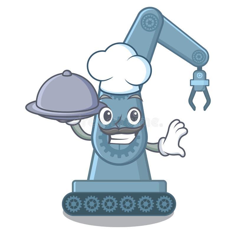 有食物mechatronic机器人胳膊的厨师在动画片桌上 向量例证