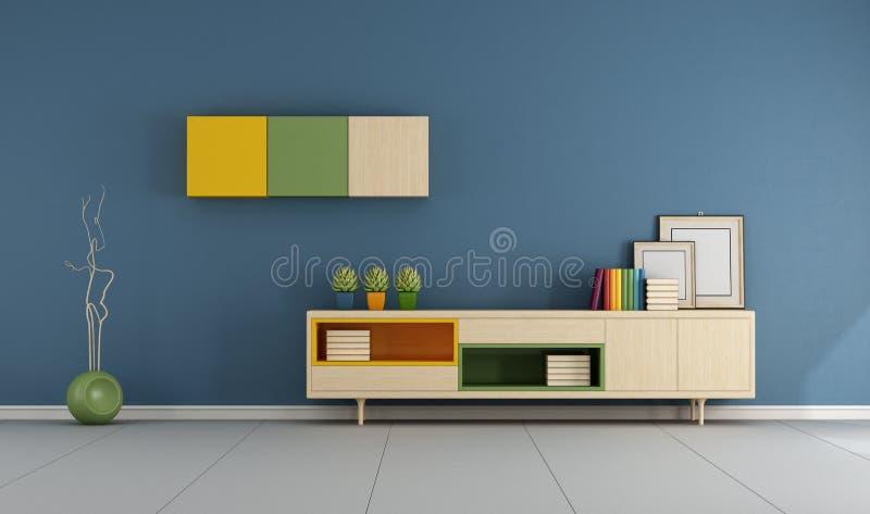 有餐具柜的蓝色客厅 库存例证